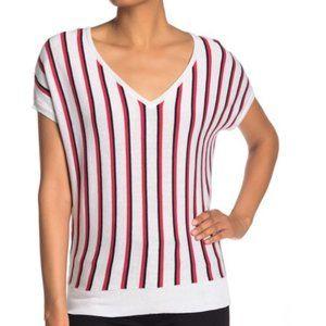 PHILOSOPHY NEW Striped V Neck Short Sleeve Knit